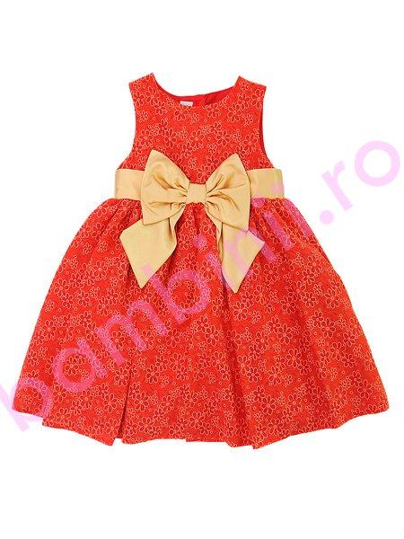 Rochie fete rosie cu cordon auriu 1243