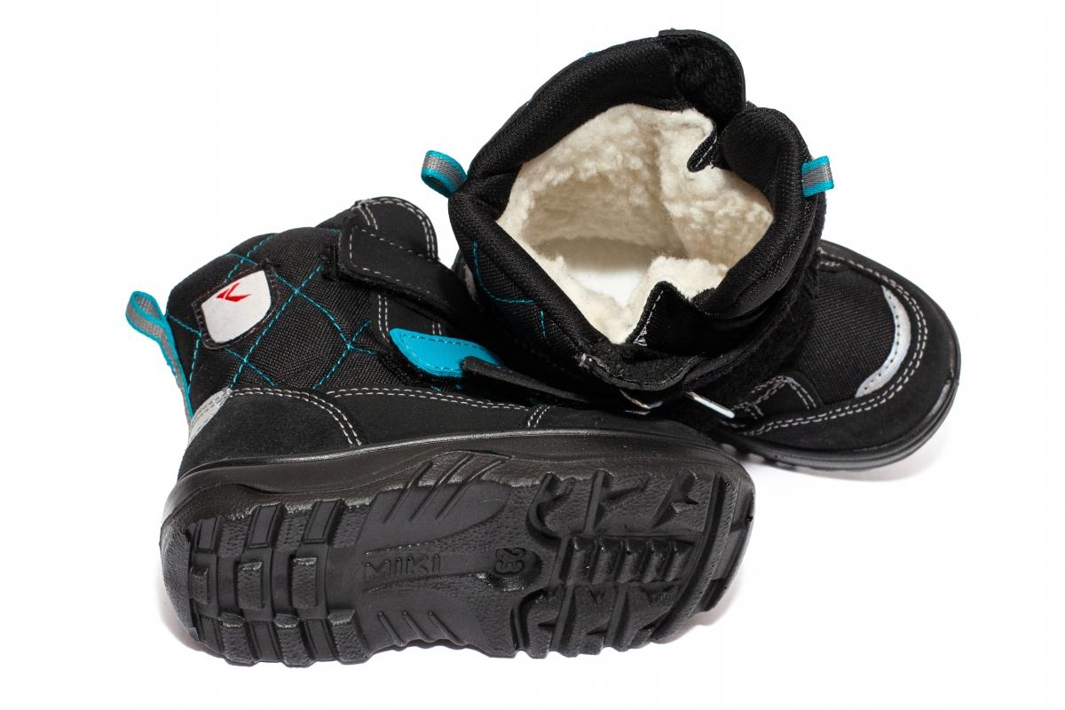 Apreskiuri copii blana GT tex 95113 negru turcoaz 26-35
