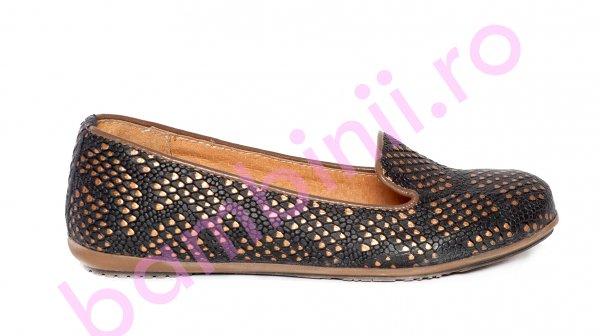 Balerini fete piele pj shoes Amia negru print 27-37