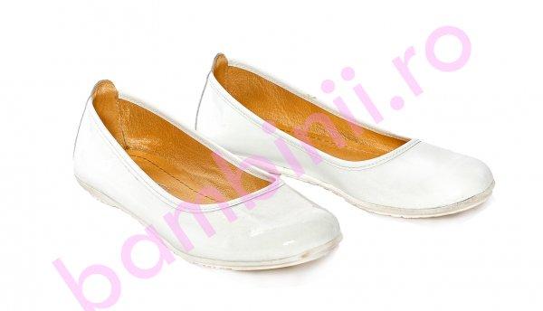 Balerini fete pj shoes Lara alb lac 27-37