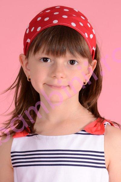 Bentita fete pentru cap 511 rosie cu buline