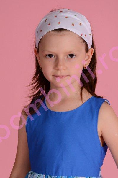 Bentita fete pentru cap 501 alba cu imprimeu floral