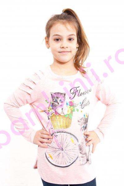 Bluza fete cu maneca lunga 966 roz pal