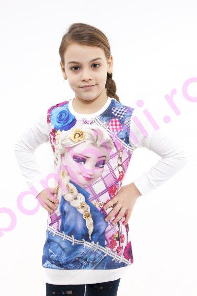 Bluza fete cu maneca lunga Frozen Elsa 3962 alb
