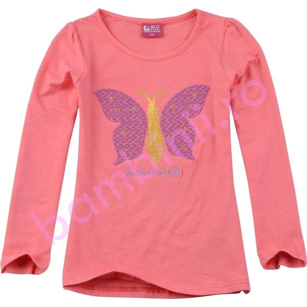 Bluze fete cu maneca lunga 3814 corai 98cm-128cm