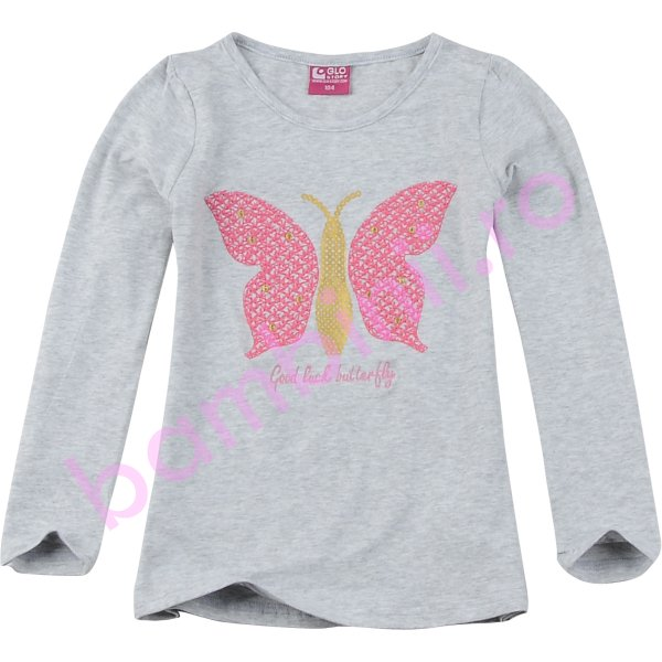 Bluze fete cu maneca lunga 3814 gri 98cm-128cm