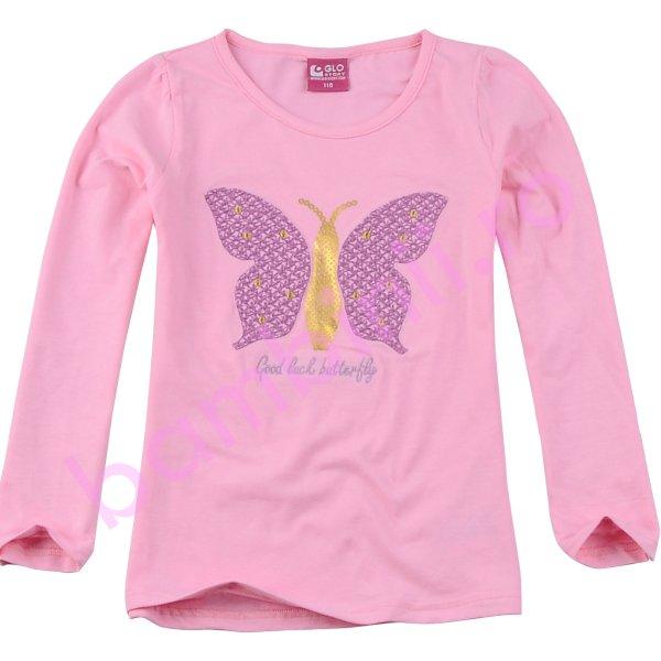 Bluze fete cu maneca lunga 3814 roz 98cm-128cm