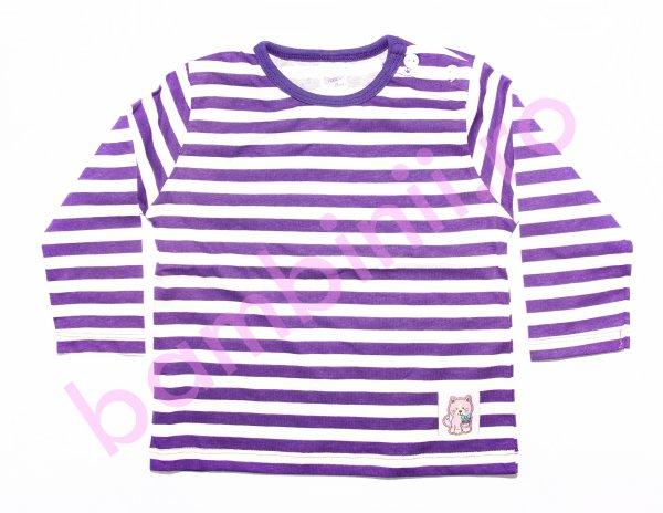 Bluze fete cu maneca lunga 3332 mov cu dungi 74-98cm