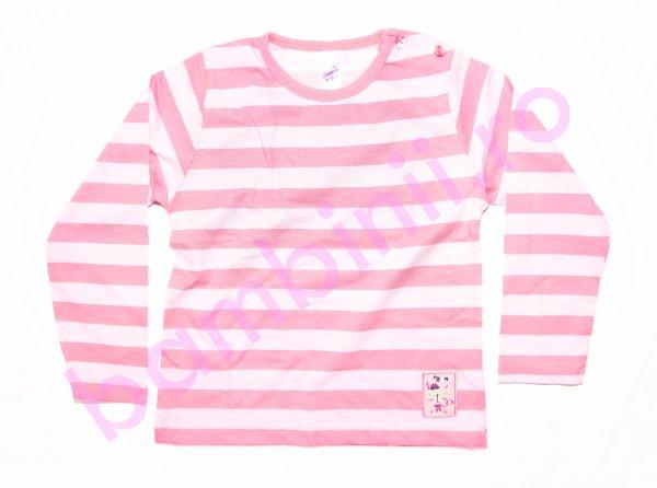 Bluze fete cu maneca lunga 3332 roz cu dungi 74-98cm