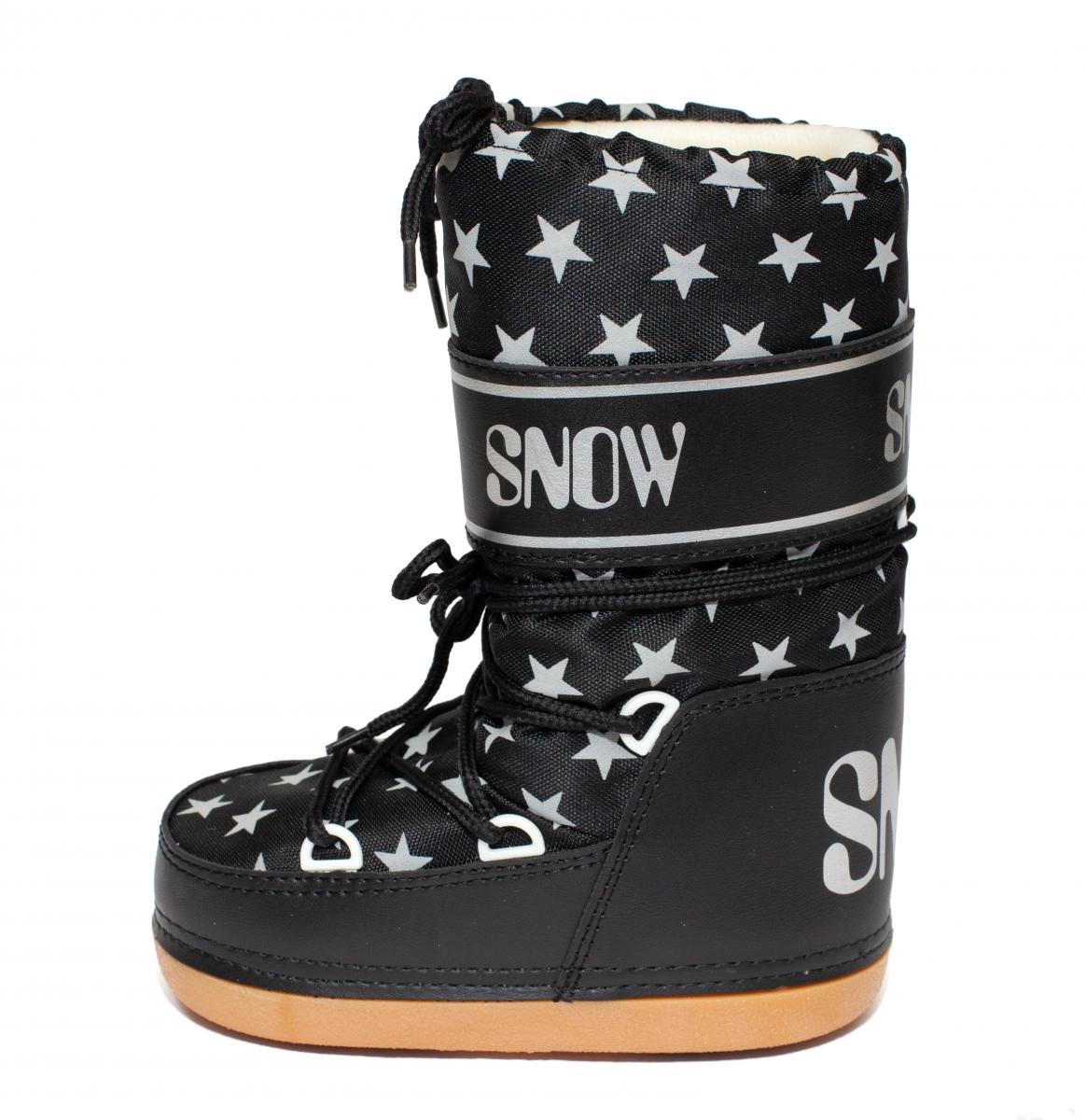 Boots copii de zapada snow 2531 negru stelute 24-36