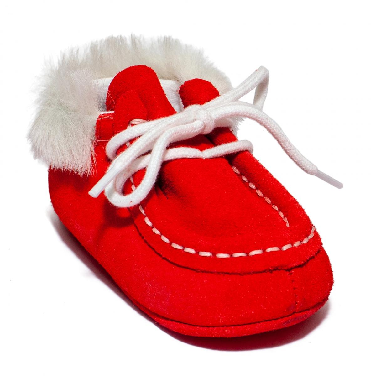 Botoseti copii din piele 1810312 rosu corai 15-19