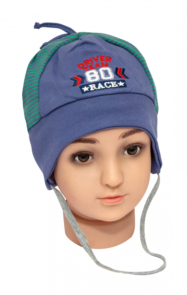 Caciula baieti 9628 blu gri 1-2ani