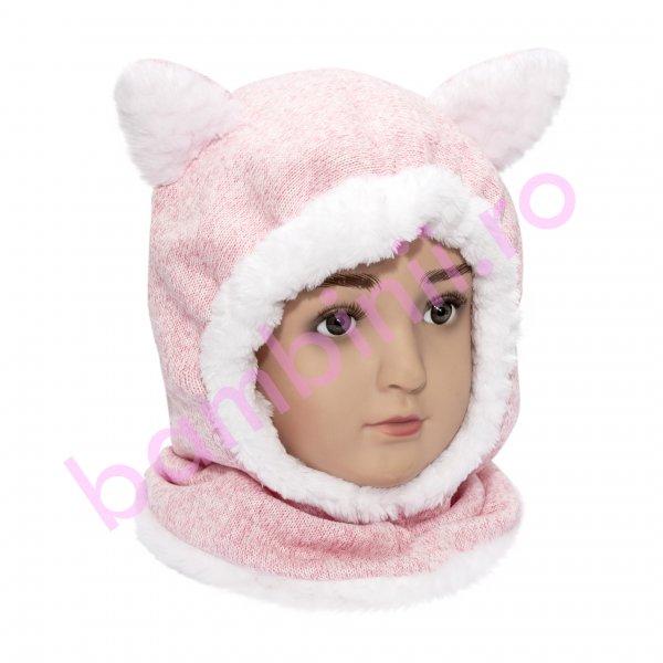 Caciula cagula copii pisica roz pal 6luni-4ani