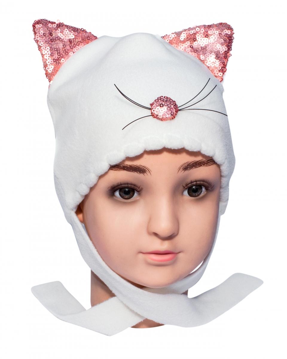 Caciula fete iarna pisica C164 ecru 40-48cm