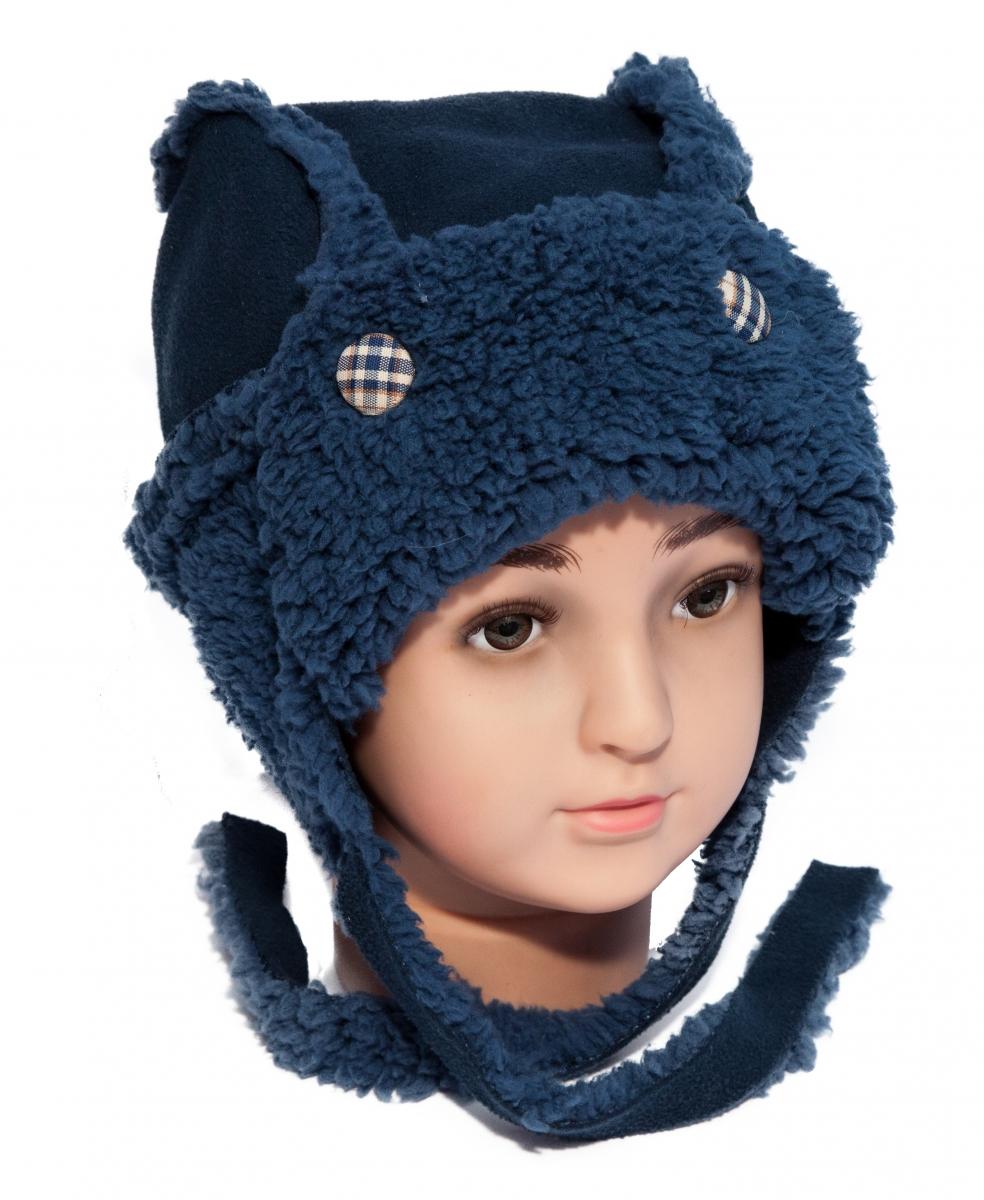 Caciuli baieti groase de iarna cu prindere C40 blu 40-50cm