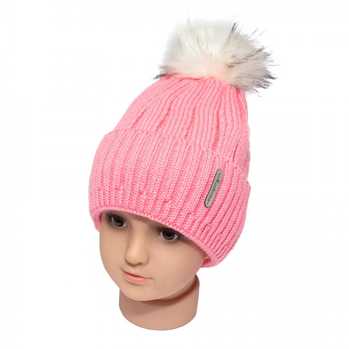Caciuli fete groase de iarna cu ciucure 1807 roz 5-14ani