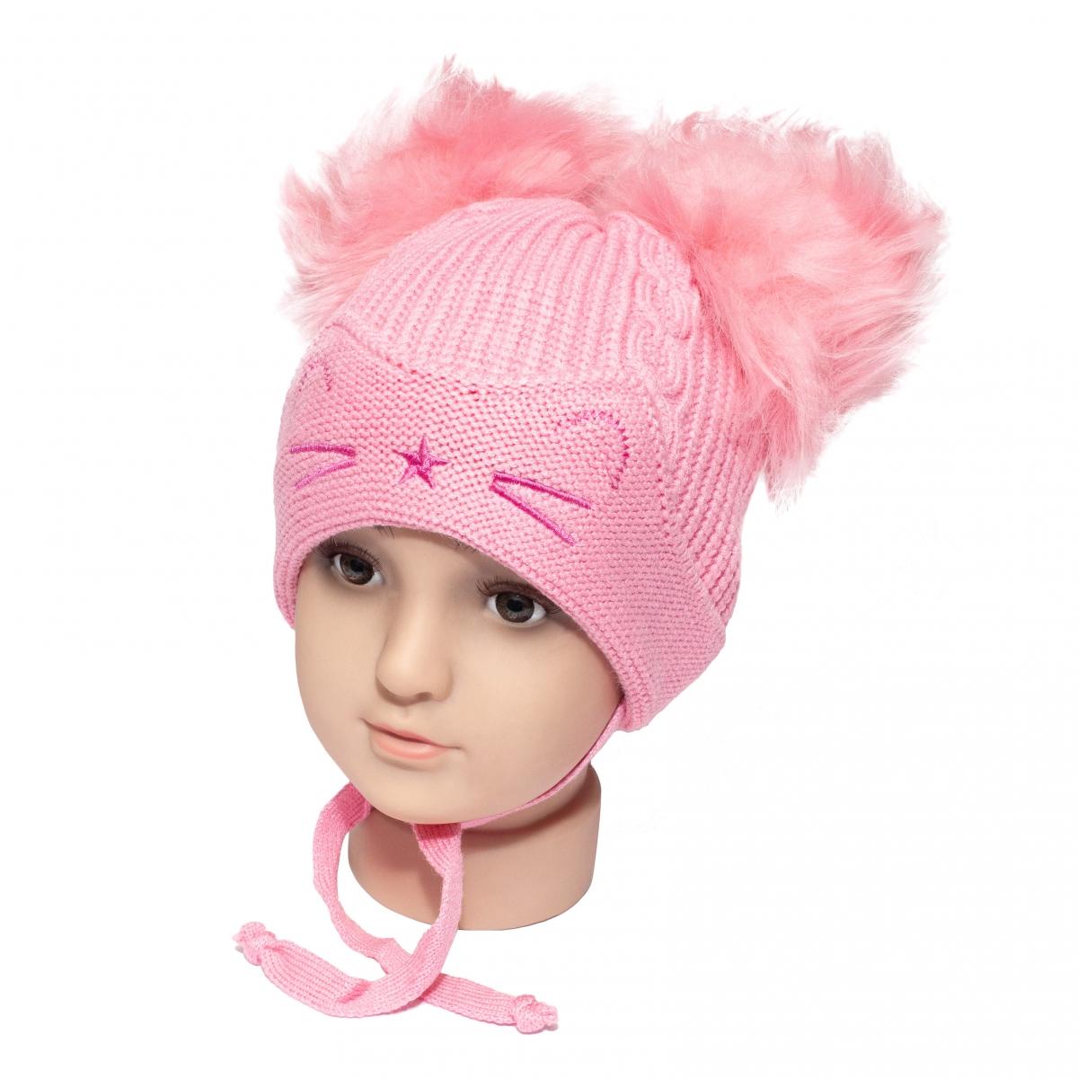 Caciuli fete groase de iarna ciucuri 1806 roz 6luni-2ani