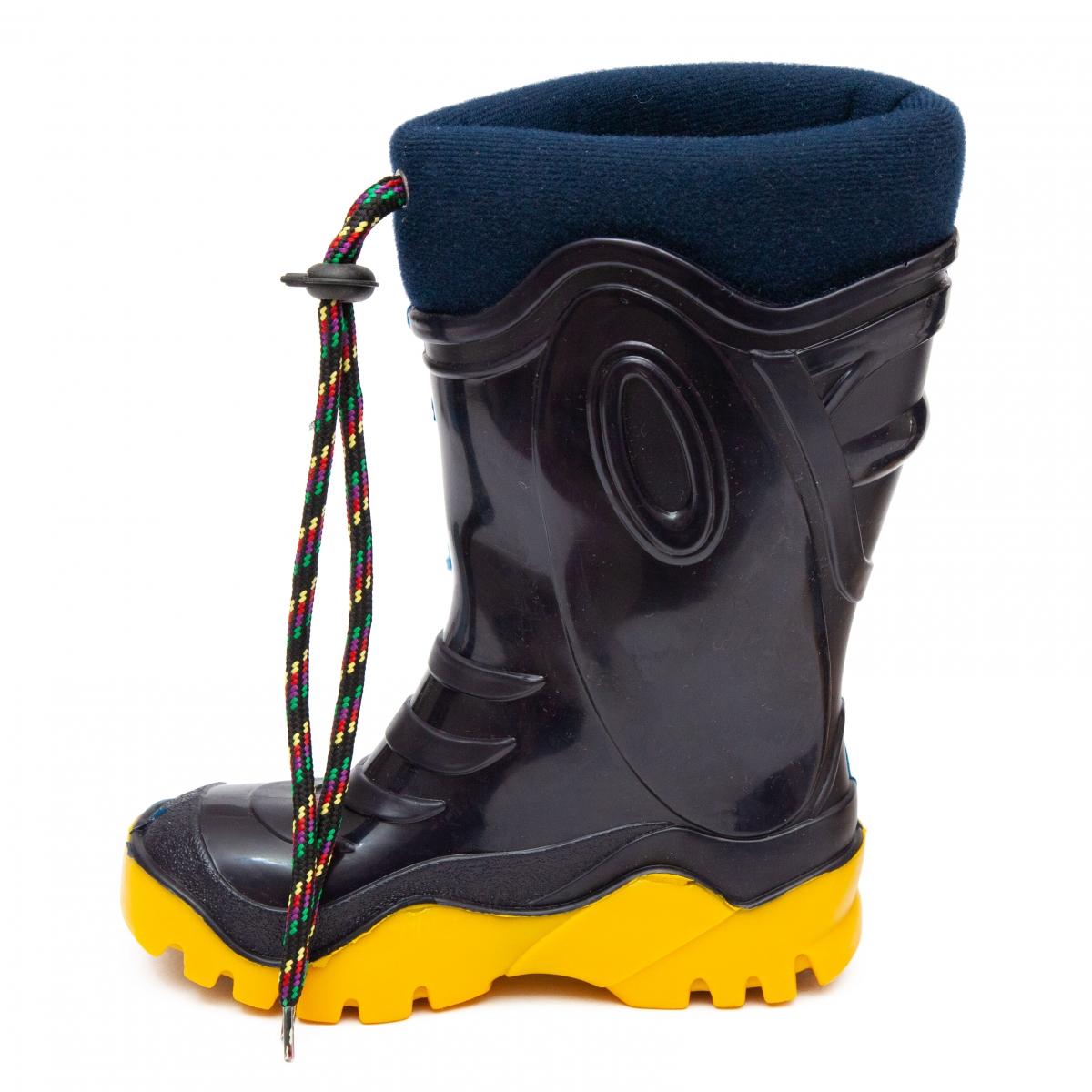 Cizme copii cauciuc cu blana iarna 4 blu galben melc 24-39