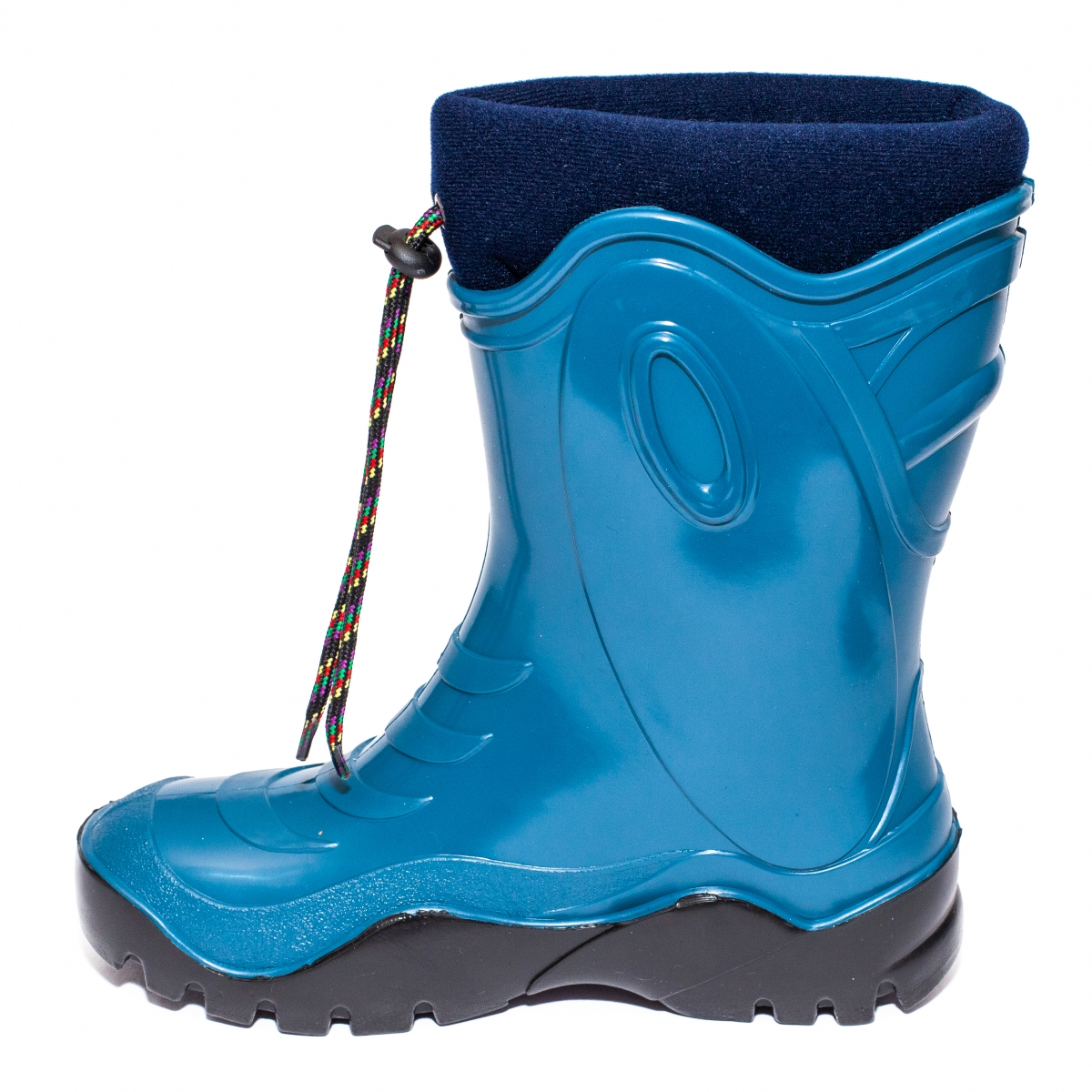 Cizme copii cauciuc cu blana iarna 4 turcoaz blu 24-39