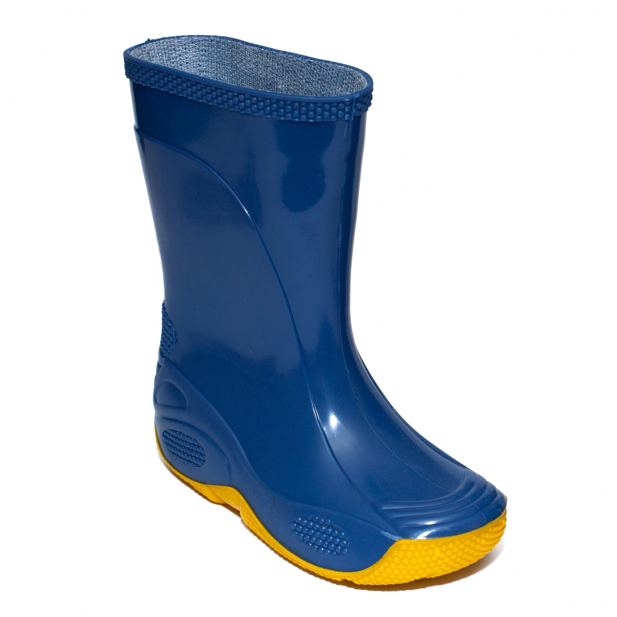 Cizme copii cauciuc de ploaie 2 albastru galben 20-35