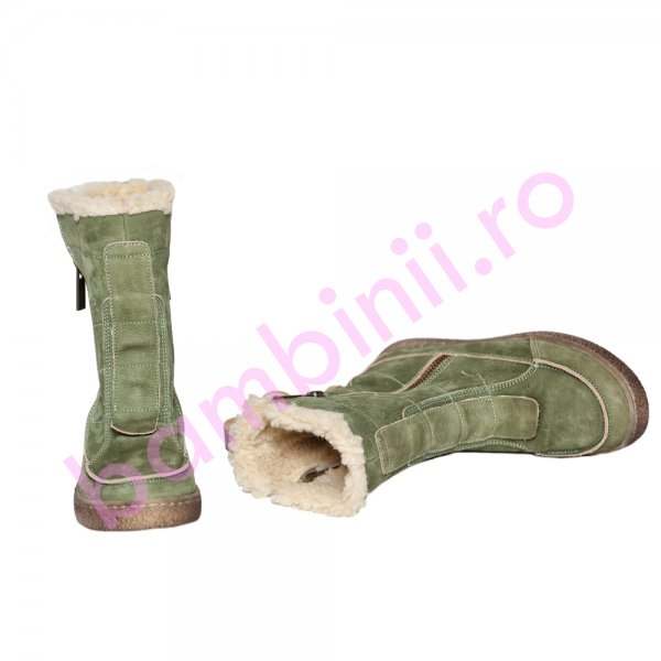 Cizme copii imblanite pj shoes Edo verde 27-36