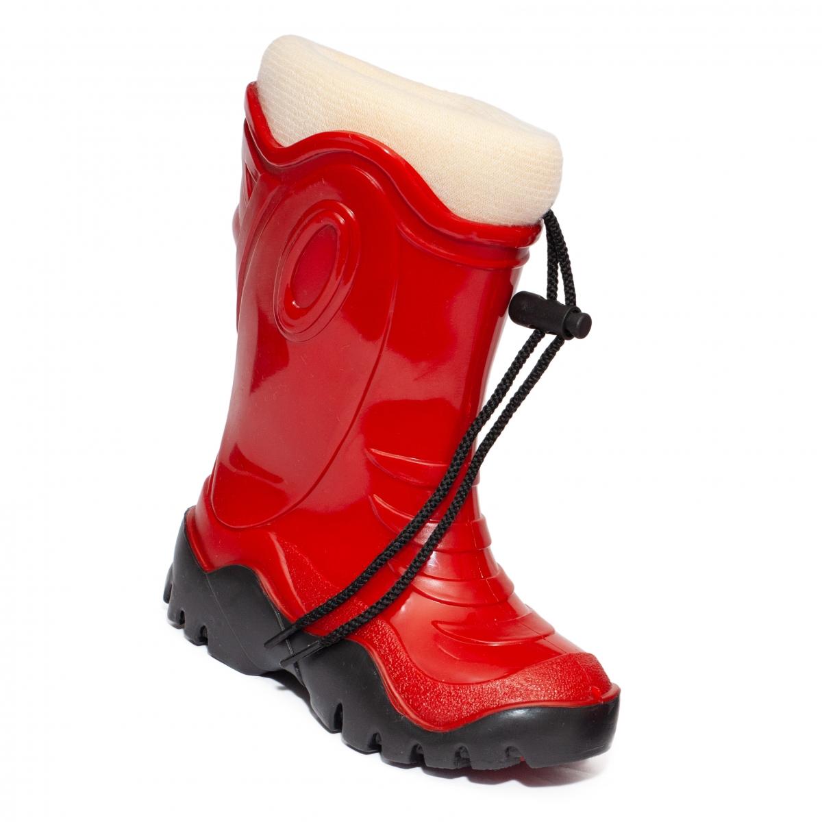 Cizme de zapada copii cu blana iarna 4 rosu bej 24-39