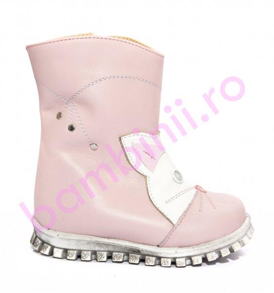 Cizme fete blana de iarna 516 roz alb 20-25