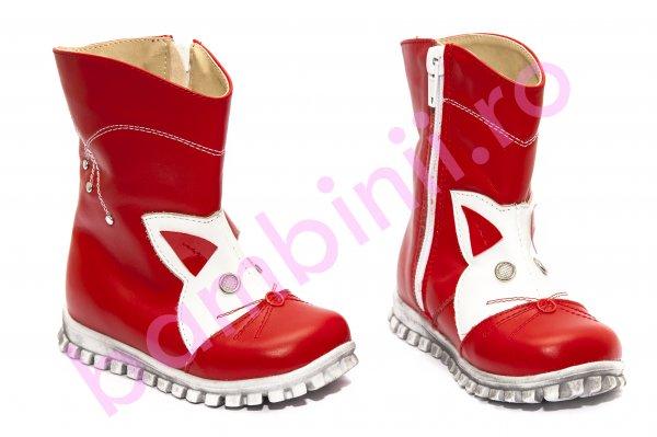 Cizme fete de iarna 516 rosu alb 20-25