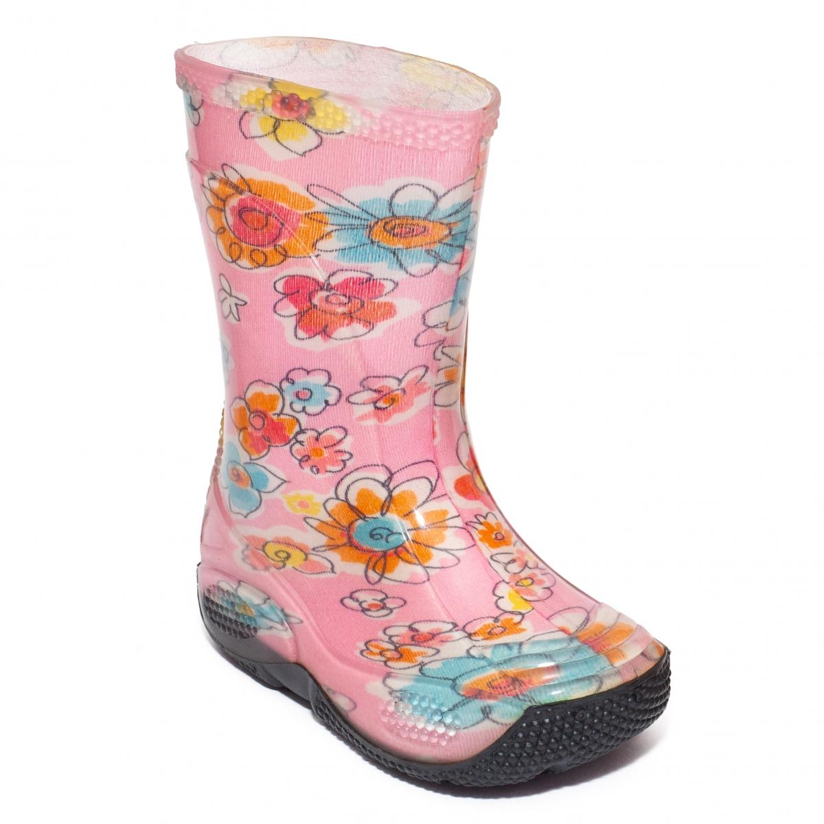 Cizme fete de ploaie din cauciuc 2 roz flori 20-30