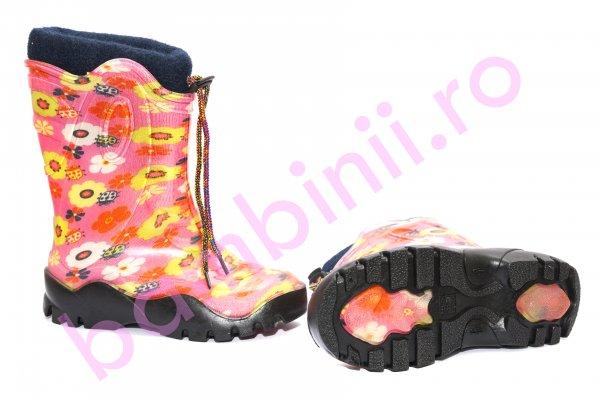 Cizme fete din cauciuc cu blana 4 roz flori