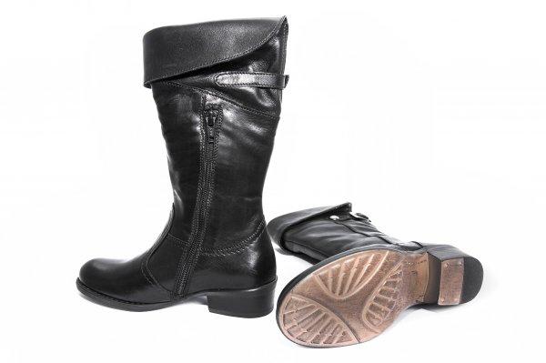Cizme fete din piele 8057 negru 30-39
