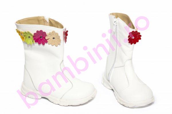 Cizme fete imblanite 547 alb flori 20-25