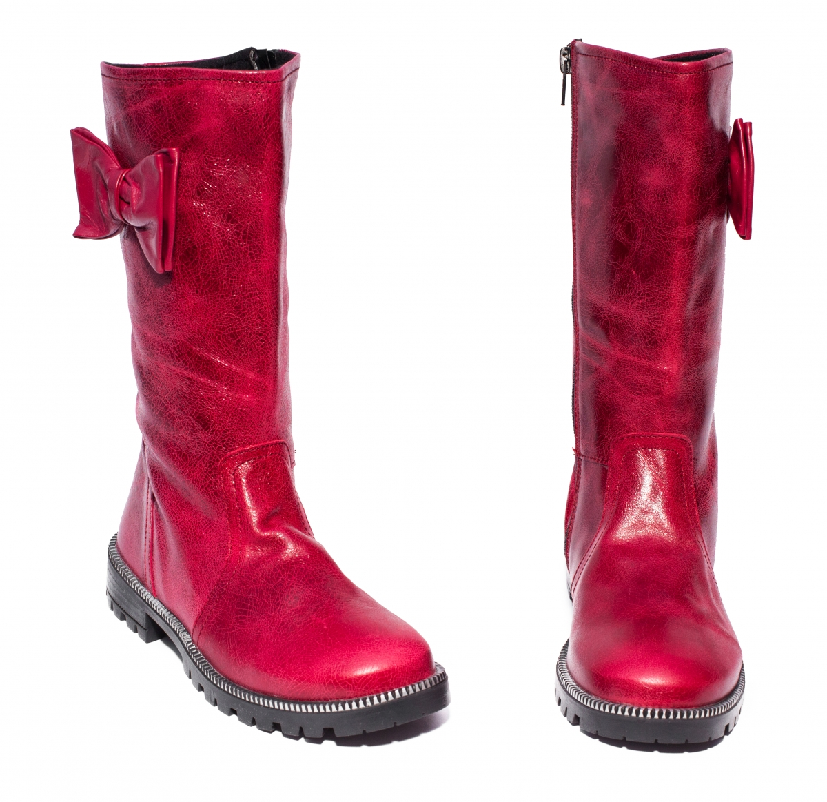 Cizme fete piele pj shoes Ada bordo 27-36