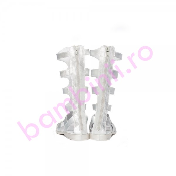 Cizme gladiator fete piele pj shoes argintiu 27-36