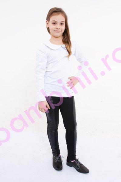 Colanti fete cu aplicatie de piele ecologica 998 negru
