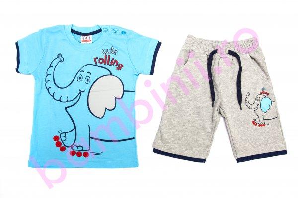 Compleu baieti elefant 6199 gri blu 86-116