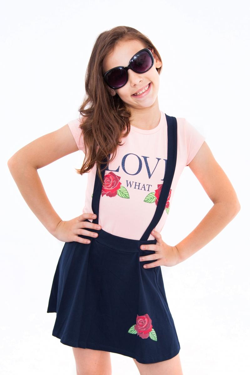 Compleu fete fusta tricou 9053 roz blu 116-152cm