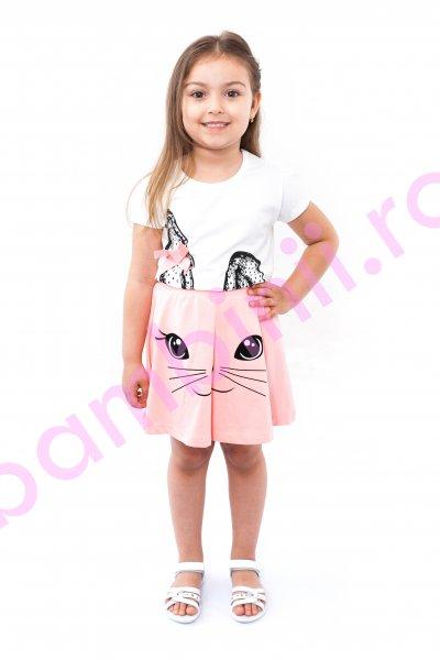Compleu fetite breeze 9017 alb roz 92-122cm