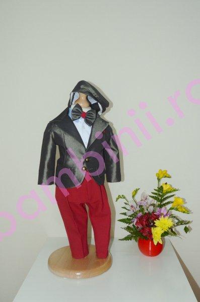 Costum baieti botez colibri 2004 rosu gri 3luni-7ani