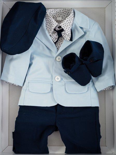 Costum baieti de botez celebrity 5231 blue blu 3-9 luni