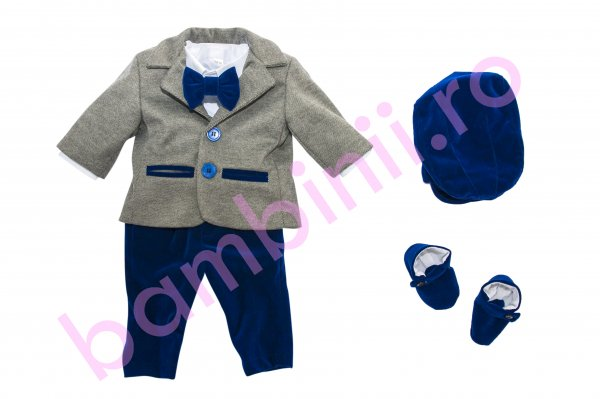Costum botez baieti 5555 gri albastru