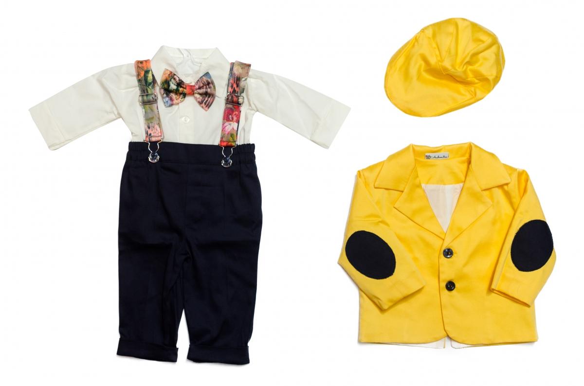 Costum botez baieti Catalin galben blu 3luni-9luni