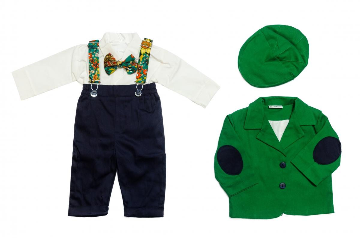 Costum botez baieti Catalin verde blu 3luni-9luni