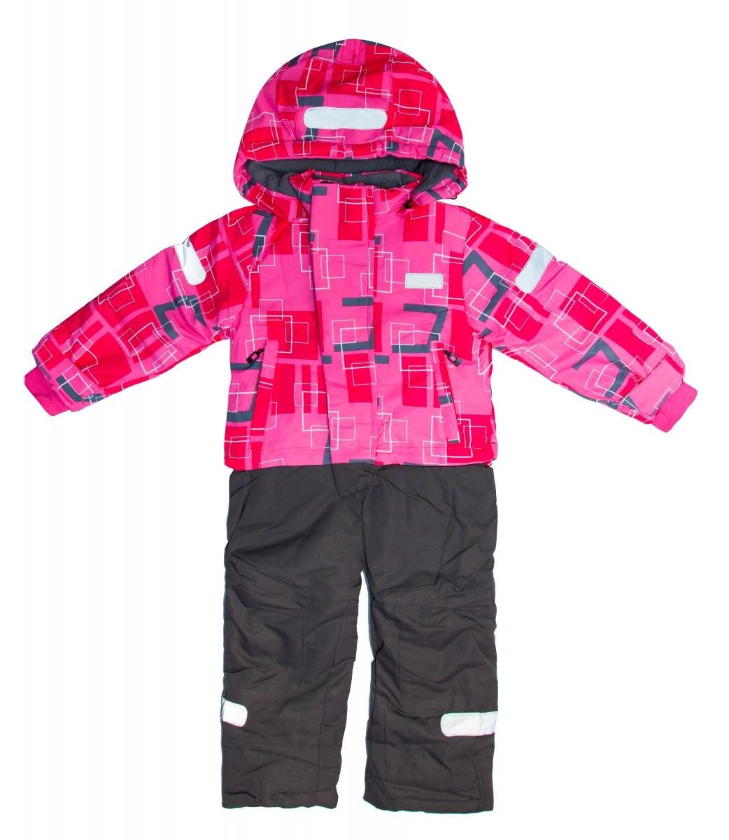 Costum de ski fete dintr-o bucata 1829 roz 86-128cm
