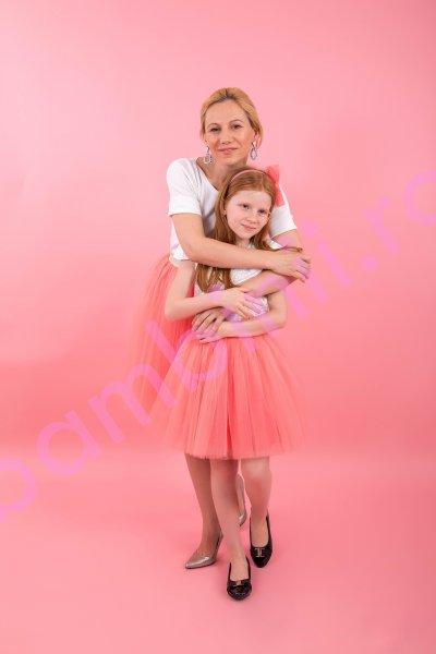 Fuste mamica fetita F21 roz 3-12ani
