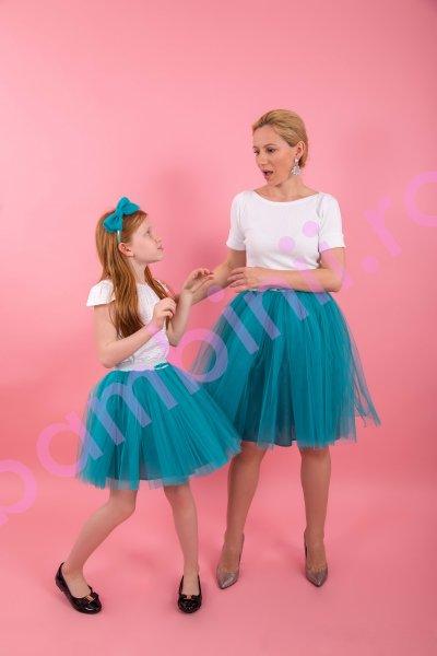 Fuste mamica fetita F22 turquoise 3-12ani