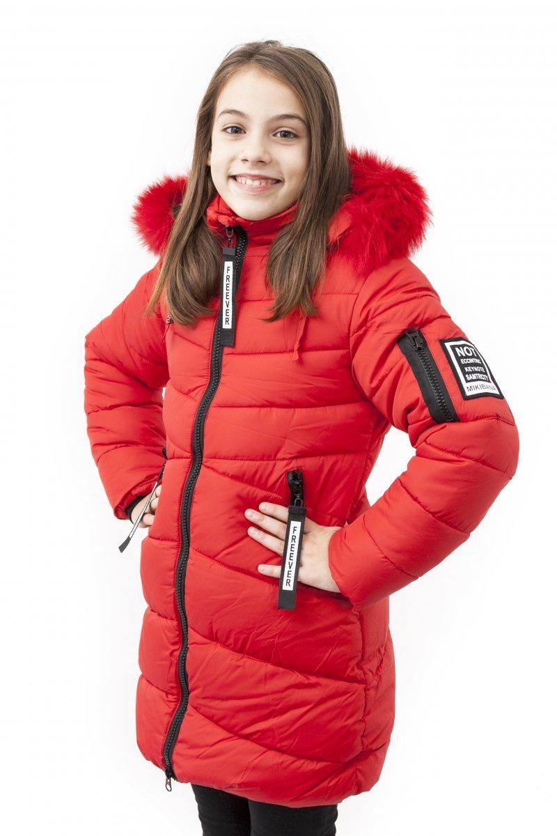 Geci fete groase de iarna 2126 rosu 128-164cm
