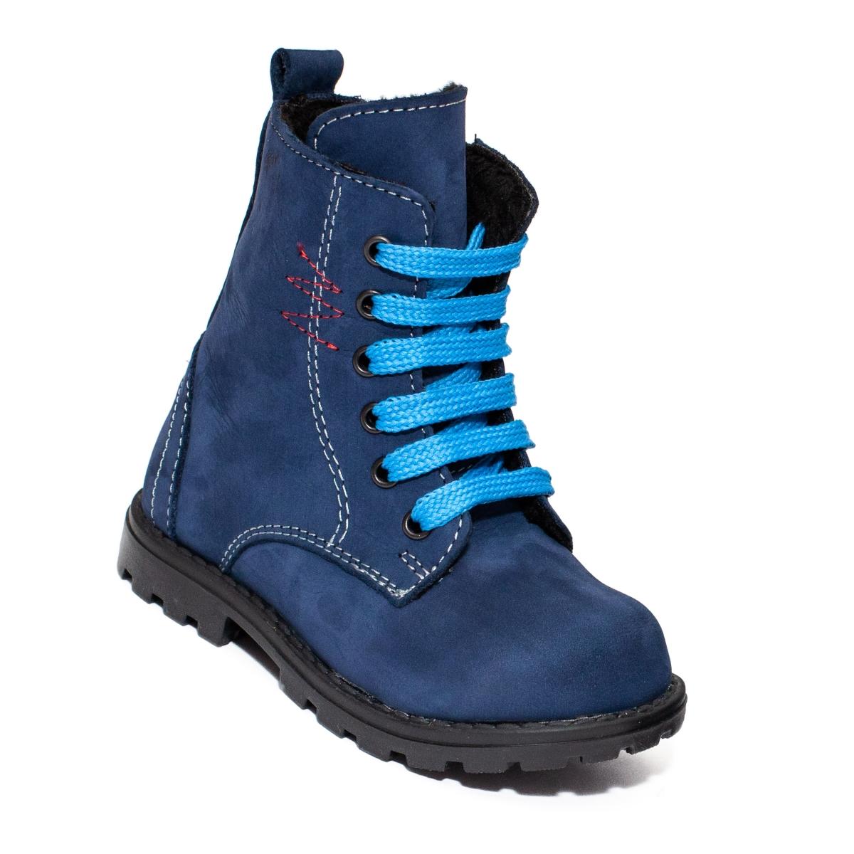 Ghete baieti cu blana Pj Shoes King albastru blu 20-26
