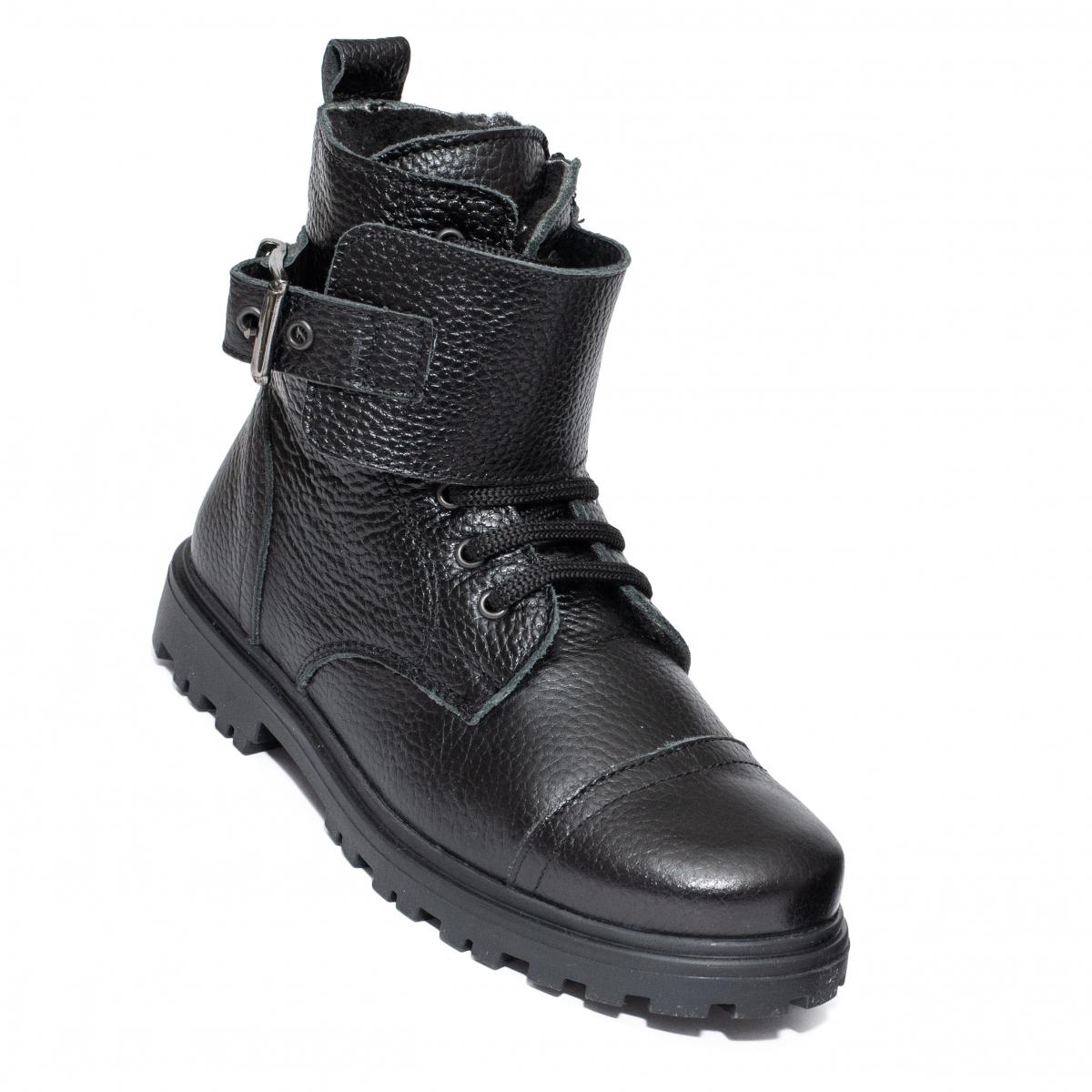 Ghete copii cu blana pj shoes Army negru box 31-37