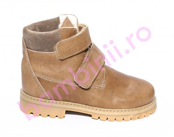 Ghete copii cu blana pj shoes Luca4 bej maro 27-36
